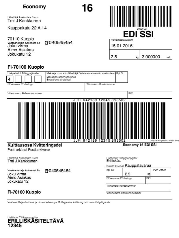 Posti Osoitekortti